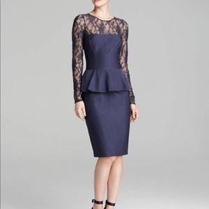 David Meister Blue Lace Accent Peplum Dress